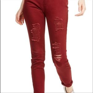 Red Distressed High-Rise Skinny Jeans